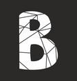 b white alphabet letter isolated on black vector image
