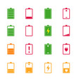 battery charge level color icons set vector image vector image