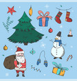 big colorful set of doodle christmas elements vector image vector image