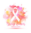 breast cancer awareness month ribbon vector image vector image