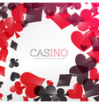 casino background design with playing cards symbol vector image vector image