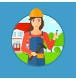 Cheerful builder with hammer vector image vector image