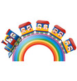 children riding on train over rainbow vector image