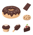 chocolate dessert cartoon icons in set collection vector image