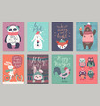 Christmas animals card set hand drawn style vector image
