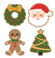 christmas holiday decorated cookies vector image