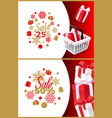 christmas sale 25 50 percent off brochures vector image vector image