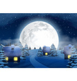 Christmas Winter Big Full Moon Night Landscape vector image