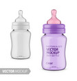 clear glossy plastic babottle mockup vector image