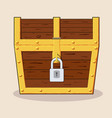 closed and locked wooden pirate treasure chest vector image vector image