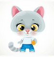 cute cartoon baby cat with ball isolated vector image vector image