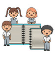 cute little students group with notebook and vector image