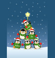 cute penguins form a christmas tree shape vector image