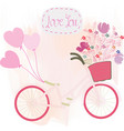 cute valentine spring flower on bicyclecard vector image