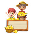 farmer holding lemon on wooden board vector image