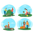 farmers working on plantation harvesting people vector image