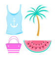female summer t-shirt with anchor watermelon palm vector image vector image