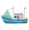 fishing boat ship to catch fish in sea or river vector image vector image