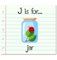 Flashcard letter J is for jar vector image vector image
