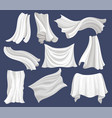 flat set of white cloth silk bed sheet vector image