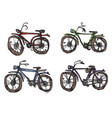 four bicycles a primitive style vector image vector image