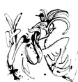Funny hand drawn cock showing victory sign and vector image vector image