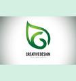 g leaf logo letter design with green leaf outline vector image vector image