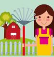 girl gardener farm vector image