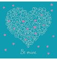 Greeting card with floral heart shape eps8 vector image vector image