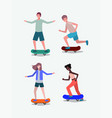 group of people in skateboards vector image vector image