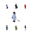 isometric people set of hostess housemaid vector image vector image