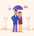 loving couple under an umbrellahappy family vector image vector image