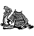 lying camel with saddle black white vector image vector image