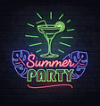 neon sign summer party with cocktail vector image