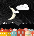 Night Landscape with Moon - Mountains and Houses vector image vector image