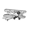 old airplane biplane engraving vector image