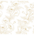 pattern of golden poppy flowers on a white vector image