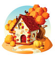 rustic stone house autumn landscape vector image vector image