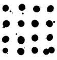 set of black blots on the white background ink vector image