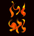 set of fire curls on dark background objects vector image