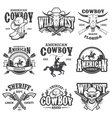 Set of vintage cowboy emblems vector image vector image