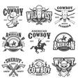 set vintage cowboy emblems vector image