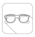 square shape with silhouette oval glasses lens vector image vector image