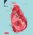 sri lanka detailed editable map vector image vector image