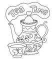 tea time coloring page doodle dishes seamless pa vector image vector image