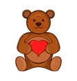 Teddy bear with red heart icon cartoon style vector image vector image
