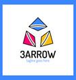 three arrows logo color and shadow vector image
