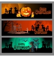 Three horizontal cards graveyard in Halloween vector image vector image