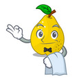 waiter ripe yellow quince fruit on mascot vector image vector image