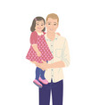 young father carrying his little daughter vector image